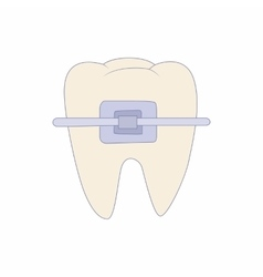 Braces on tooth icon cartoon style vector