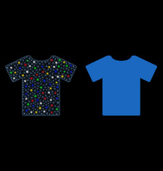 Bright mesh wire frame t-shirt icon with flash vector