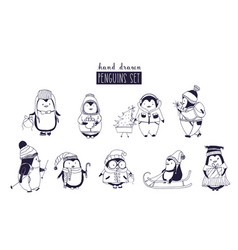 Bundle of baby boy and girl penguins wearing vector