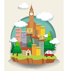 Car and buildings on small land vector