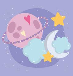 cartoon saturn planet cloud half moon stars heart vector image