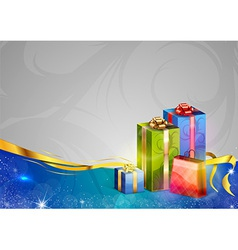 christmas background two color blue gifts vector image