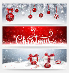Christmas banners set with balls and gifts vector