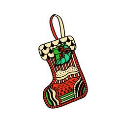 christmas boho sock vector image