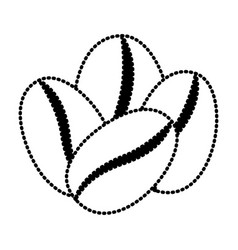Coffee beans set of four grains silhouette dotted vector