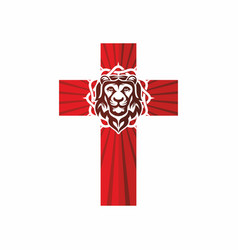 cross crown of thorns and lion vector image