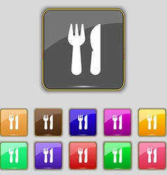 Crossed fork over knife icon sign Set with eleven vector