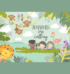 Cute cartoon kids travelling with animals vector
