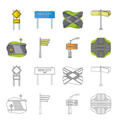 Direction signs and other web icon in cartoon vector