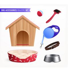 Dog accessories realistic set vector