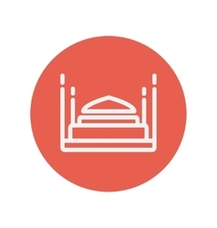 Double bed thin line icon vector image