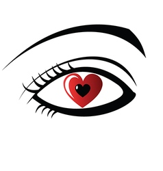Eye with heart design vector image