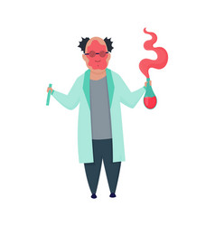 failed experiment mad professor in lab coat vector image