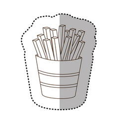 figure fries french fast food icon vector image