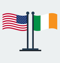 flag of united states and irelandflag stand vector image