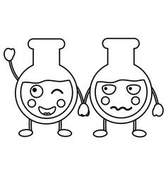Flask laboratory kawaii icon image vector