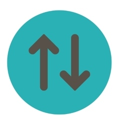 Flip flat grey and cyan colors round button vector