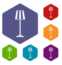 Floor lamp icons set vector