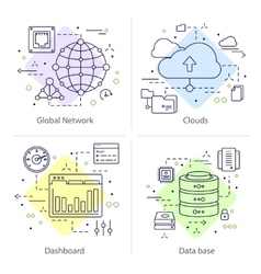 Four Datacenter Icon Set vector