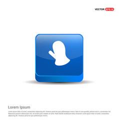gloves icon - 3d blue button vector image