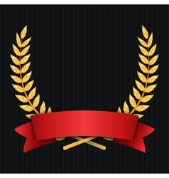 Gold Laurel Shine Wreath Award Design Red vector