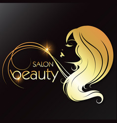 Golden silhouette a girl beauty salon vector