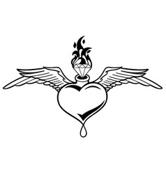 Graphic winged heart with flaming gemstone vector