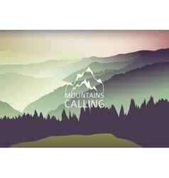 Green sundown in mountain - background vector