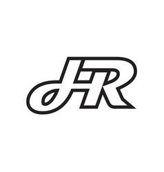 H r script letter lines design vector