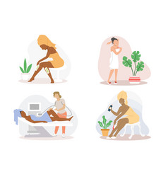 Hair removal procedures flat isolated vector