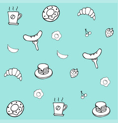 Hand drawing breakfast doodle background vector