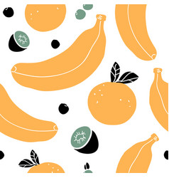 hand drawn seamless pattern with bananas oranges vector image