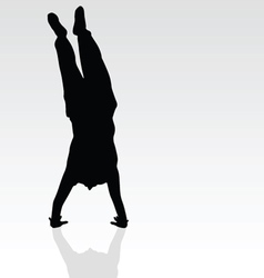 Handstand black silhouette vector