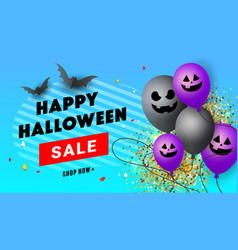 happy halloween creative poster with scary face vector image