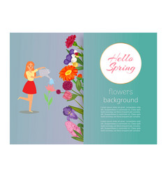 hello spring girl watering flowers floral banner vector image
