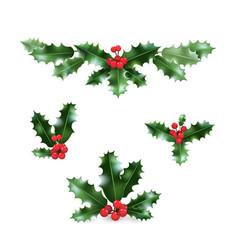 Holly holiday set vector