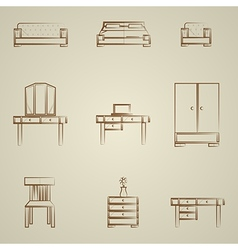 Icons for furniture vector