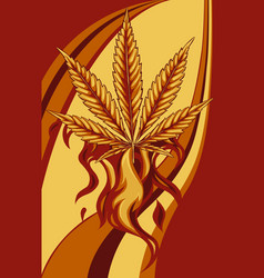 leaf hemp from red flame vector image