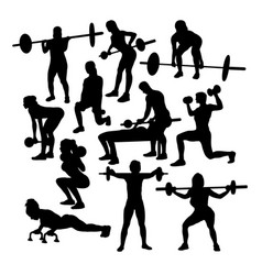 lifter fitness gym activity silhouettes vector image