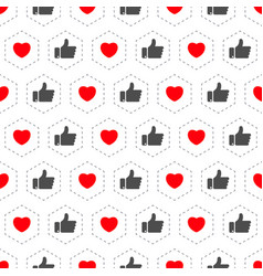 like and heart icon seamless pattern background vector image