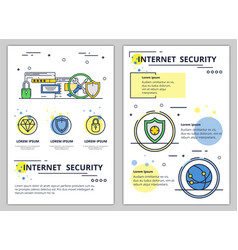 line art internet security poster banner vector image