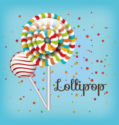 lollipop spiral colors and confetti with blue vector image