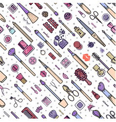 Makeup seamless pattern of vector