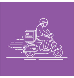 man riding scooter with carton box with products vector image