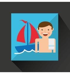 Man shorts towel beach vacations boat vector