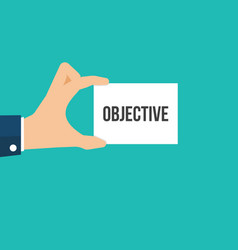 man showing paper objective text vector image