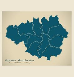 Modern map - greater manchester metropolitan vector