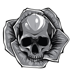 Monochromatic skull with flowers with roses vector