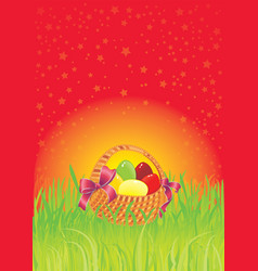 Multi colored easter eggs in a cute basket vector