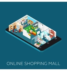 Online Shopping Mall Isometric Icon vector